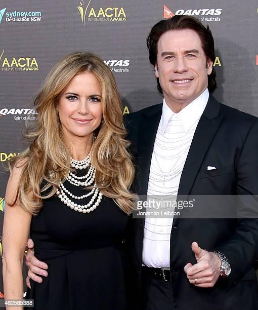 Actors Kelly Preston and John Travolta attend the 2015 G'Day USA GALA featuring the AACTA International Awards presented by QANTAS at Hollywood...