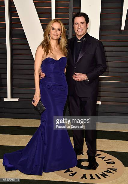 Actors Kelly Preston and John Travolta attend the 2015 Vanity Fair Oscar Party hosted by Graydon Carter at Wallis Annenberg Center for the Performing...
