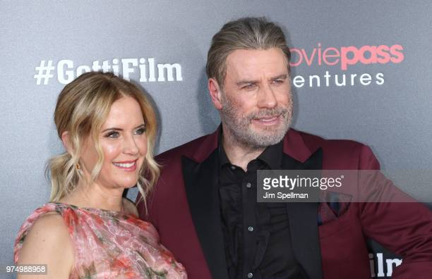 Actors Kelly Preston and John Travolta attend the Gotti New York premiere at SVA Theater on June 14 2018 in New York City