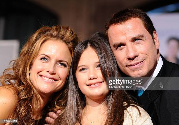 Actors Kelly Preston Ella Bleu Travolta and John Travolta arrive at the premiere of Walt Disney Pictures' Old Dogs held at the El Capitan Theatre on...
