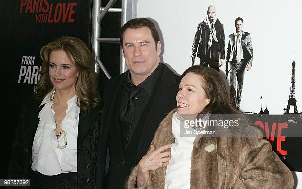 Actors Kelly Preston John Travolta and Karen Lynn Gorney attend the From Paris With Love premiere at the Ziegfeld Theatre on January 28 2010 in New...