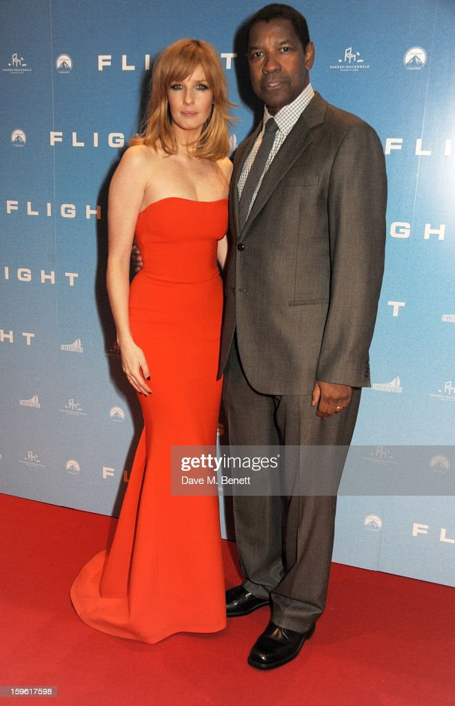Actors Kelly Reilly (L) and Denzel Washington attend the UK Premiere of 'Flight' at the the Empire Leicester Square on January 17, 2013 in London, England.