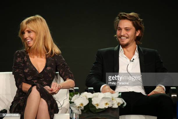 Actors Kelly Reilly and Luke Grimes of 'Yellowstone' speak onstage during the Paramount Network portion of the 2018 Winter TCA on January 15 2018 in...