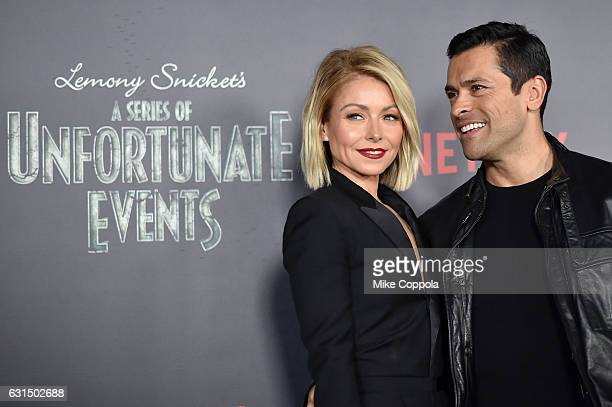 Actors Kelly Ripa and Mark Conseulos attend the 'Lemony Snicket's A Series Of Unfortunate Events' Screening at AMC Lincoln Square Theater on January...