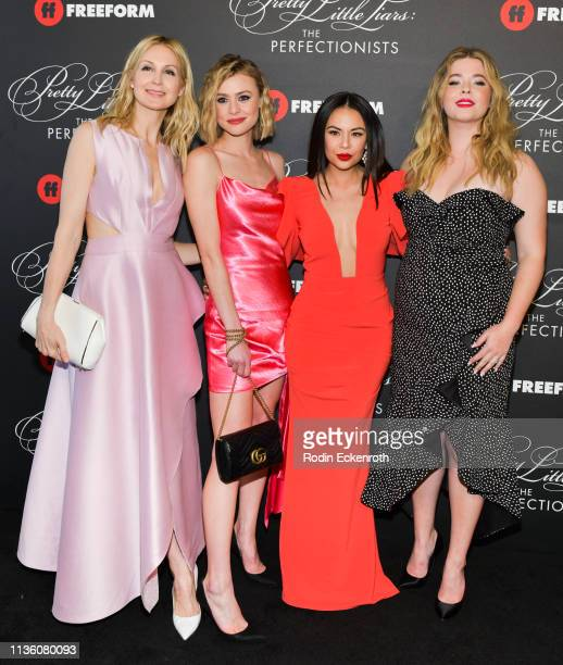 Actors Kelly Rutherford Hayley Erin Janel Parrish and Sasha Pieterse attend the Pretty Little Liars The Perfectionists Premiere at Hollywood Athletic...