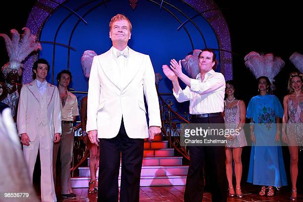 Actors Kelsey Grammer and Douglas Hodges perform in the opening of La Cage Aux Folles on Broadway at the Longacre Theatre on April 18 2010 in New...