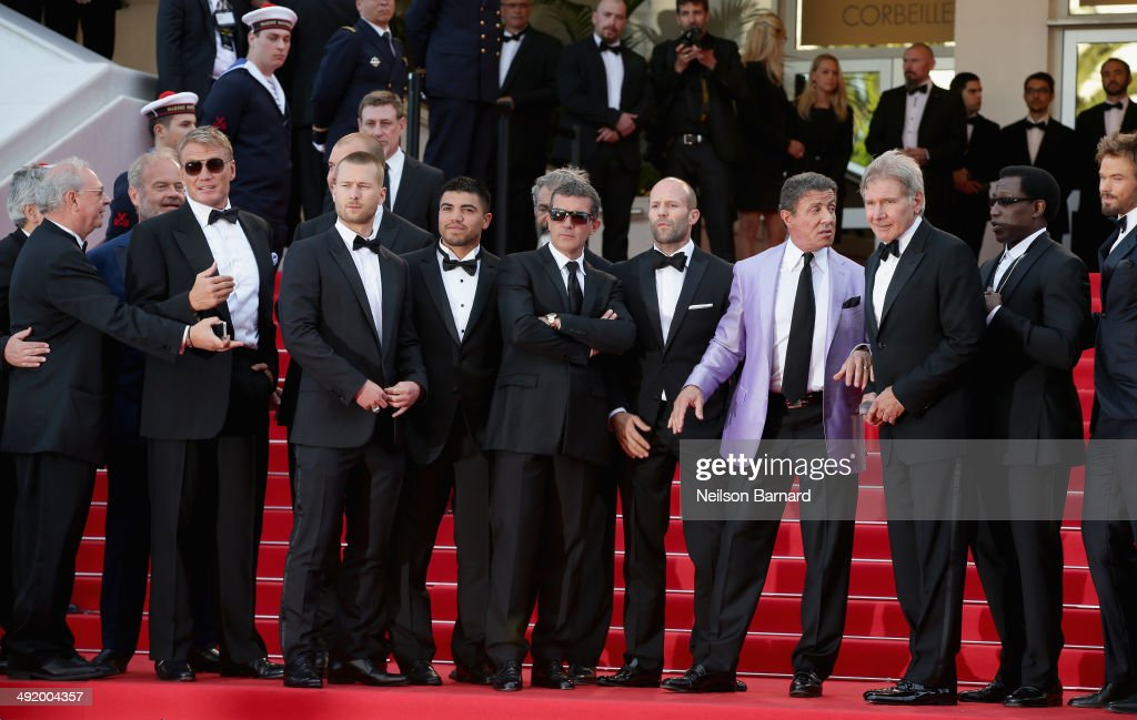 Actors Kelsey Grammer, Dolph Lundgren, Glen Powell, Victor Ortiz, Antonio Banderas, Mel Gibson, Jason Statham, Sylvester Stallone, Harrison Ford, Wesley Snipes and Kellan Lutz attend 'The Expendables 3' premiere during the 67th Annual Cannes Film Festival on May 18, 2014 in Cannes, France.