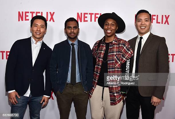 "Actors Kelvin Yu, Aziz Ansari, Lena Waithe and executive producer Alan Yang attend Netflix's ""Master of None"" Emmy Season Screening and panel on May..."