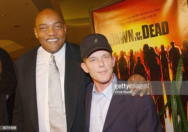 Actors Ken Foree and Scott Reiniger attend the premiere of the Universal Pictures' film 'Dawn Of The Dead' on March 10 2004 at the Cineplex Beverly...