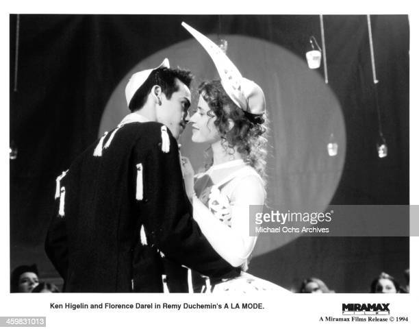 Actors Ken Higelin and actress Florence Darel on set of the movie 'A la mode' circa 1993