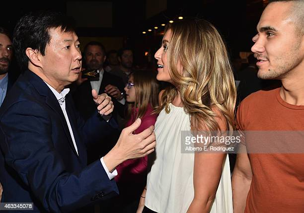Actors Ken Jeong Alexa Vega and singer Carlos Pena attend a Fan Screening of CBS Films' The Duff at the TCL Chinese 6 Theatres on February 12 2015 in...
