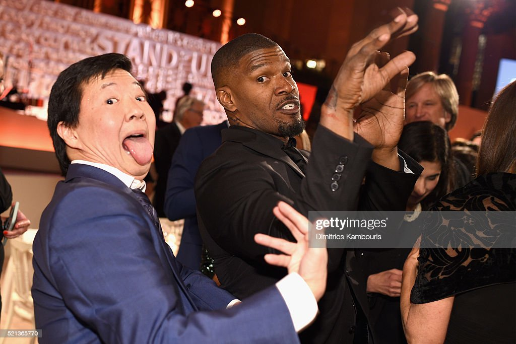 Actors Ken Jeong (L) and Jamie Foxx attend Stand Up To Cancer's New York Standing Room Only, presented by Entertainment Industry Foundation, with donors American Airlines and Merck, chaired by Jim Toth, Reese Witherspoon & MasterCard President/CEO Ajay Banga and his wife Ritu, honoring Katie Couric at Cipriani Wall Street on April 9, 2016 in New York City.
