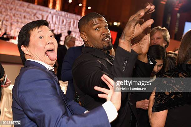 Actors Ken Jeong and Jamie Foxx attend Stand Up To Cancer's New York Standing Room Only presented by Entertainment Industry Foundation with donors...