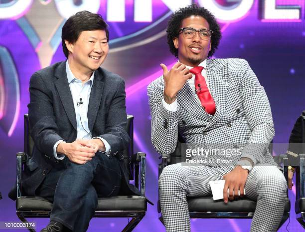 Actors Ken Jeong and Nick Cannon of the television show The Masked Singer speak during the Fox segment of the Summer 2018 Television Critics...