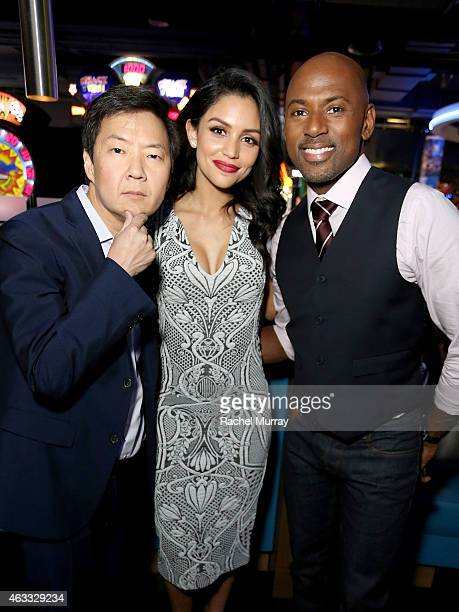 Actors Ken Jeong Bianca Santos and Romany Malco attend a special Los Angeles fan screening of THE DUFF on February 12 2015 in Los Angeles California