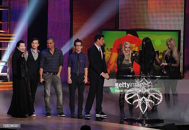 Actors Ken Jeong Chris Colfer Mark Salling Kevin McHale Cory Monteith and Katy Perry speak onstage during the 2010 Teen Choice Awards at Gibson...