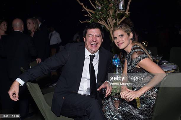 Actors Ken Marino and Lake Bell attend the Creative Arts Emmy Awards Governors Ball at Microsoft Theater on September 10 2016 in Los Angeles...