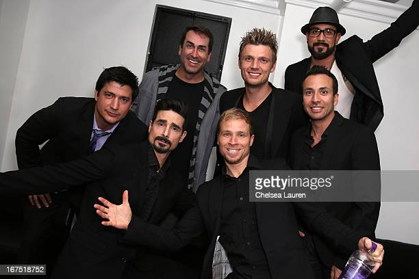 Actors Ken Marino Rob Riggle and Singers Kevin Richardson Brian Littrell Nick Carter Howie Dorough and AJ McLean of The Back Street Boys attend the...