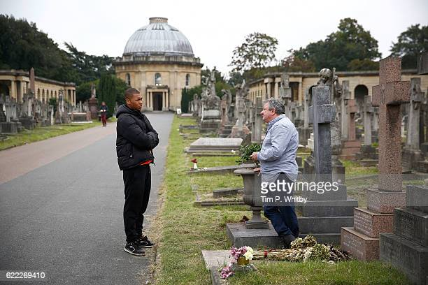 Actors Ken Stott and Franz Drameh on the set of 100 Streets in Brompton Cemetery on September 11 2014 in London England