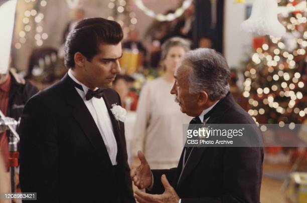 Actors Ken Wahl as Vinnie Terranova and George Petrie as crime boss Don Rudy Aiuppo star in the CBS television series Wise Guy
