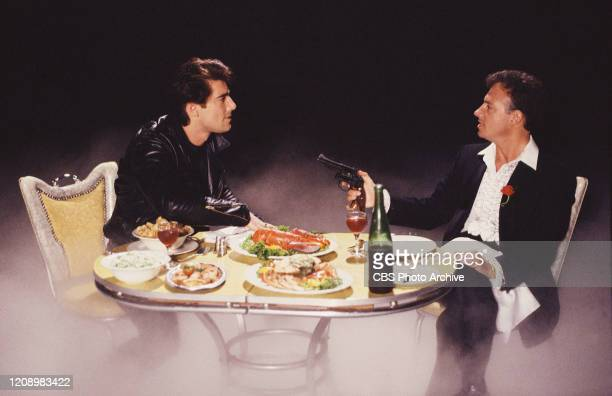 Actors Ken Wahl as Vinnie Terranova and Ray Sharkey as Sonny Steelgrave star in the CBS television series Wise Guy