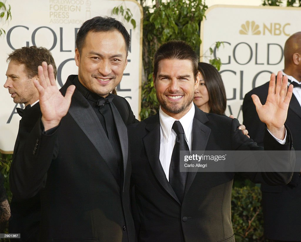 Actors Ken Watanabe and Tom Cruise attend the 61st Annual Golden Globe Awards at the Beverly Hilton Hotel on January 25, 2004 in Beverly Hills, California.