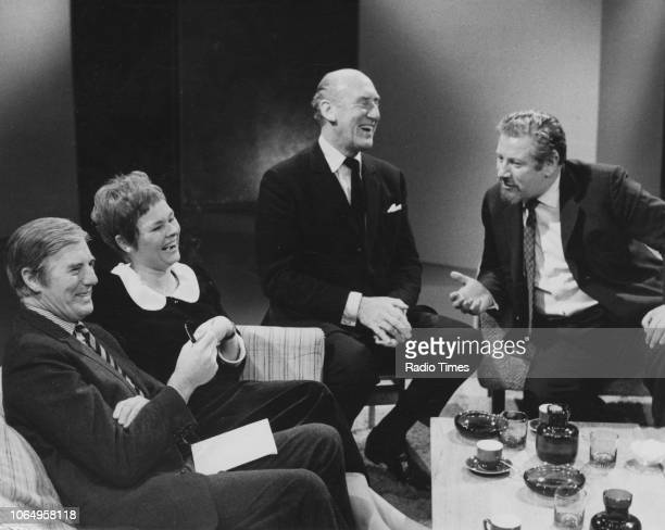 Actors Kenneth Allsop Judi Dench Patrick Campbell and Peter Ustinov pictured during the television special 'A Christmas Conversation' December 25th...