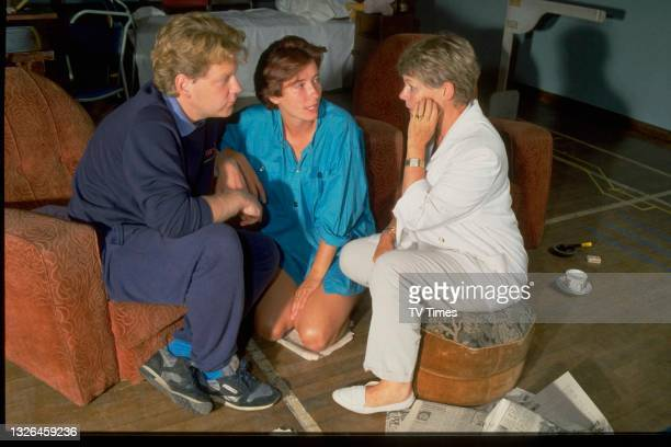 Actors Kenneth Branagh and Emma Thompson talking with director Judi Dench on the set of television drama Look Back In Anger, circa 1989.