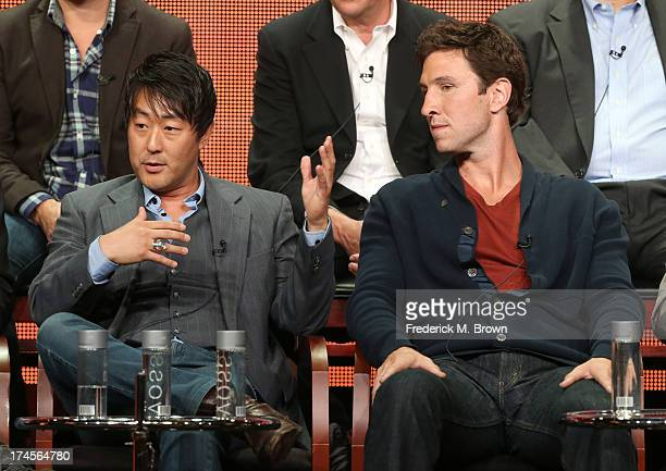 Actors Kenneth Choi and Pablo Schreiber speak onstage during the Ironside panel discussion at the NBC portion of the 2013 Summer Television Critics...