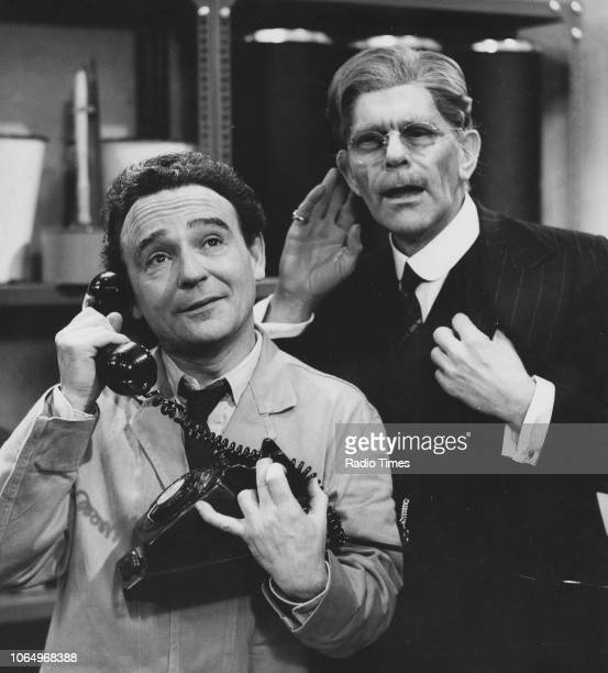 Actors Kenneth Connor and Deryk Guyler in a scene from the television series 'Room at the Bottom' February 20th 1967