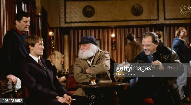 Actors Kenneth MacDonald Nicholas Lyndhurst Buster Merryfield and David Jason in a pub scene from episode 'Little Problems' of the BBC Television...
