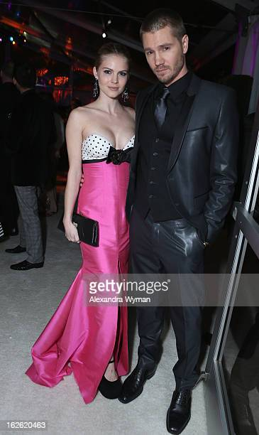Actors Kenzie Dalton and Chad Michael Murray attend the 21st Annual Elton John AIDS Foundation Academy Awards Viewing Party at West Hollywood Park on...