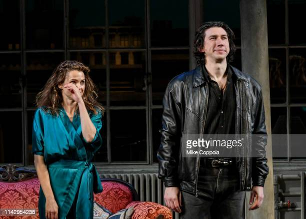 Actors Keri Russell and Adam Driver take a curtain call during Burn This Opening Night at Hudson Theatre on April 15 2019 in New York City