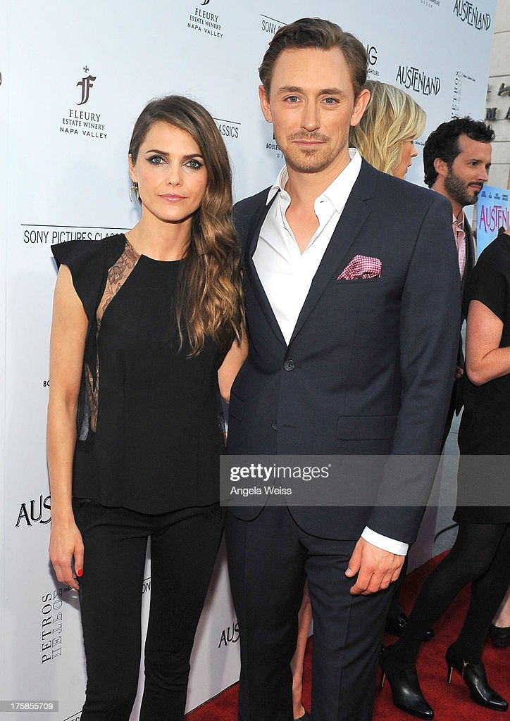 Actors Keri Russell and J.J. Feild arrive at the premiere of 'Austenland' at ArcLight Hollywood on August 8, 2013 in Hollywood, California.