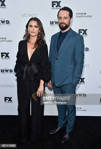 Actors Keri Russell and Matthew Rhys attend the Vanity and FX Annual Primetime Emmy Nominations Party at Craft Restaurant on September 17 2016 in...