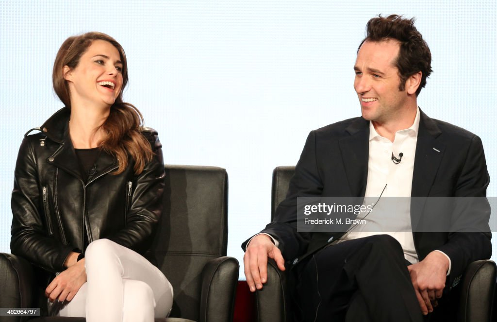 Actors Keri Russell and Matthew Rhys of the television show 'The Americans' speak onstage during the FX portion of the 2014 Television Critics Association Press Tour at the Langham Hotel on January 14, 2014 in Pasadena, California.