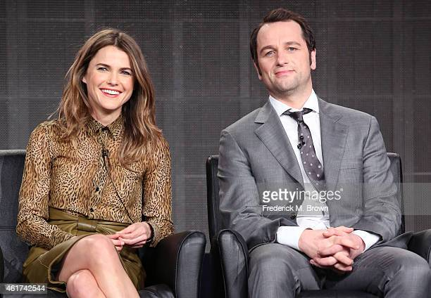 Actors Keri Russell and Matthew Rhys speak onstage during the 'The Americans' panel discussion at the FX Networks portion of the Television Critics...