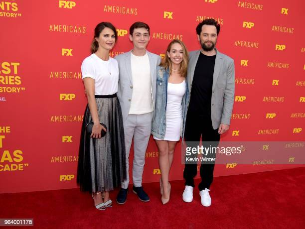Actors Keri Russell Keidrich Sellati Holly Taylor and Matthew Rhys arrive at the For Your Consideration red carpet event for FX's 'The Americans' at...