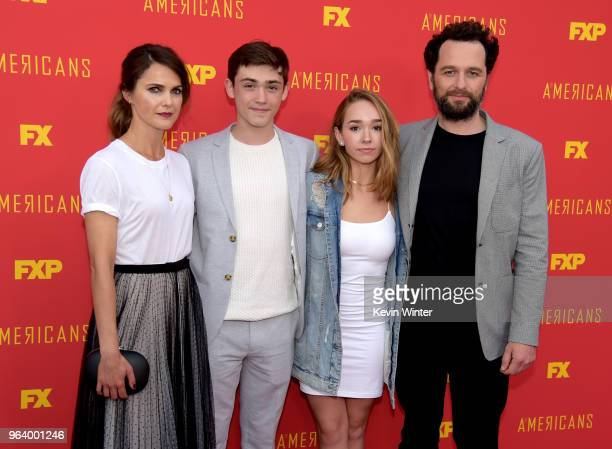 Actors Keri Russell Keidrich Sellati Holly Taylor and Matthew Rhys arrive at the For Your Consideration red carpet event for FX's The Americans at...