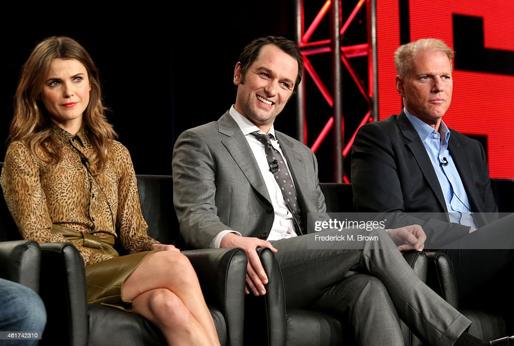 Actors Keri Russell, Matthew Rhys and Noah Emmerich speaks onstage during the 'The Americans' panel discussion at the FX Networks portion of the Television Critics Association press tour at Langham Hotel on January 18, 2015 in Pasadena, California.