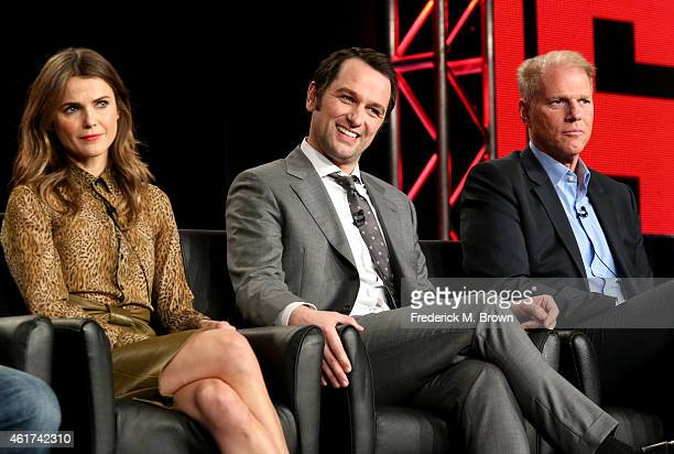 Actors Keri Russell Matthew Rhys and Noah Emmerich speaks onstage during the 'The Americans' panel discussion at the FX Networks portion of the...