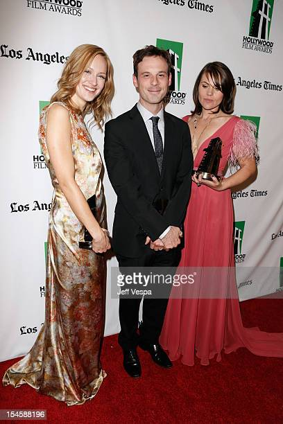 Actors Kerry Bishe Scoot McNairy and Clea DuVall attend the 16th Annual Hollywood Film Awards Gala presented by The Los Angeles Times held at The...