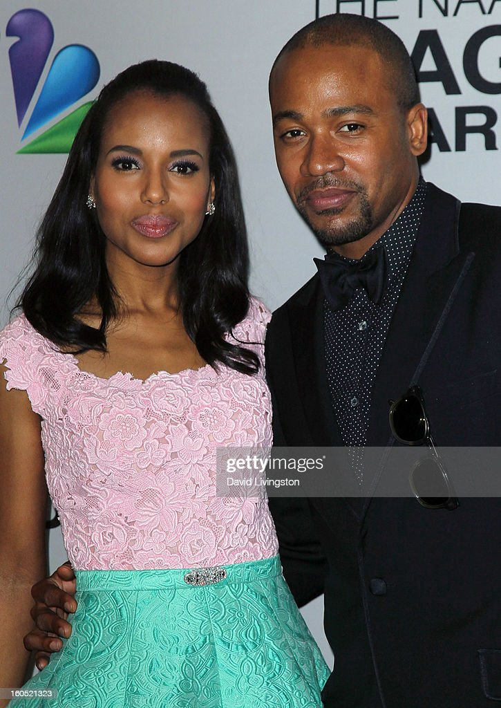 Actors Kerry Washington (L) and Columbus Short pose in the press room at the 44th NAACP Image Awards at the Shrine Auditorium on February 1, 2013 in Los Angeles, California.