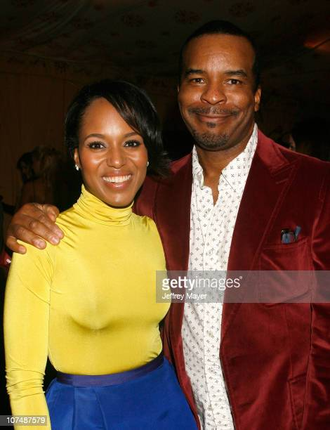 Actors Kerry Washington and David Alan Grier at the On3 Productions Lounge at Film Independent's 2008 Independent Spirit Awards at the Santa Monica...