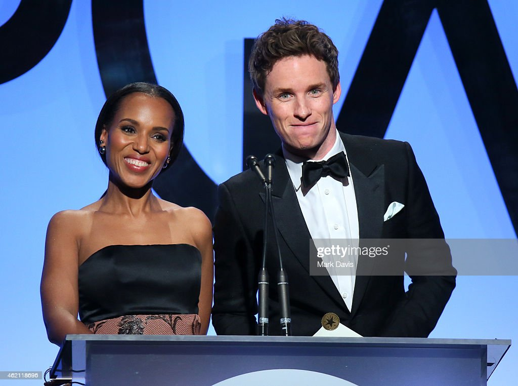 Actors Kerry Washington (L) and Eddie Redmayne speak onstage during the 26th Annual Producers Guild Of America Awards at the Hyatt Regency Century Plaza on January 24, 2015 in Los Angeles, California.