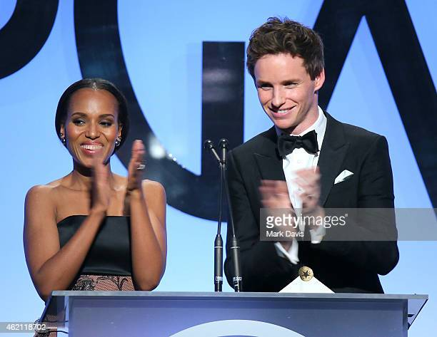 Actors Kerry Washington and Eddie Redmayne speak onstage during the 26th Annual Producers Guild Of America Awards at the Hyatt Regency Century Plaza...
