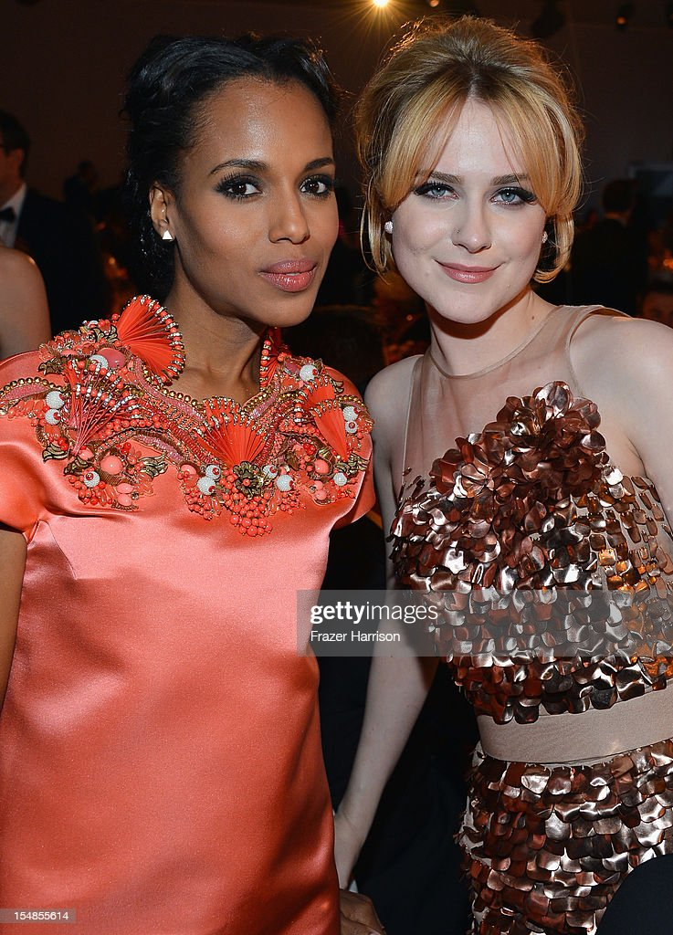 Actors Kerry Washington and Evan Rachel Wood attend LACMA 2012 Art + Film Gala Honoring Ed Ruscha and Stanley Kubrick presented by Gucci at LACMA on October 27, 2012 in Los Angeles, California.