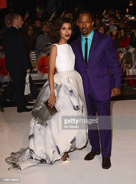 Actors Kerry Washington and Jamie Foxx attend the UK Premiere of Django Unchained at the Empire Leicester Square on January 10 2013 in London England