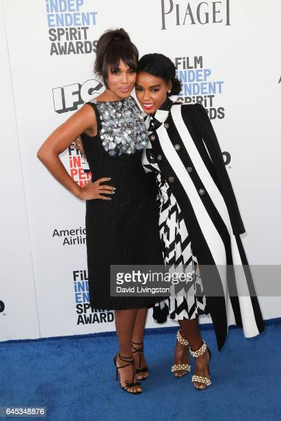 Actors Kerry Washington and Janelle Monae attend the 2017 Film Independent Spirit Awards on February 25 2017 in Santa Monica California