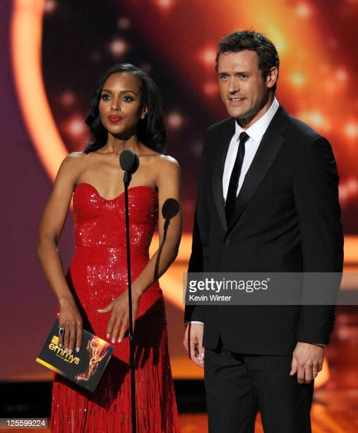 Actors Kerry Washington and Jason O'Mara speak onstage during the 63rd Annual Primetime Emmy Awards held at Nokia Theatre LA LIVE on September 18...